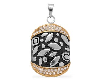 White Austrian Crystal Oxidized Pendant Without Chain Plated Yellow Gold over Stainless Steel
