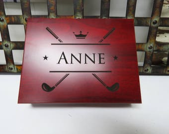 Father's Day Gift for Golfer - Personalized Golf Ball Display Box, Golf Ball Holder, Golf Ball Gift Box in Rosewood Finish - FREE ENGRAVING