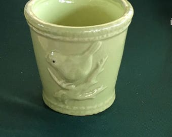 Vintage Bird Embossed Flower Pot -  bird on branch.green, decorative, indoor