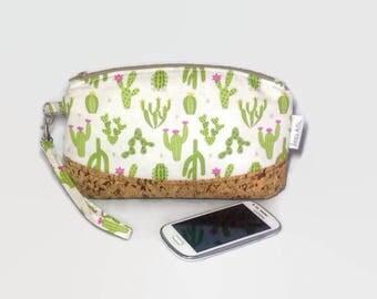Cactus Clutch Bag, Pouch, Clematis Pouch, Wristlet, Cork Leather, Makeup Bag, Cosmetics Bag, Handbag, Purse