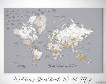 Marble world map etsy wedding guestbook map guest book world map custom push pin world map gold gumiabroncs Choice Image