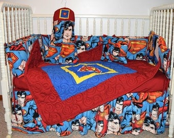New Crib Nursery Beddng Set  m/w Superman Fabric
