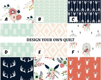 Design Your Own Quilt - Baby Girl Quilt, Shabby Chic Quilt, Pink, Mint, Gray, Crib Quilt, Nursery Blanket, Modern Minky Patchwork Quilt