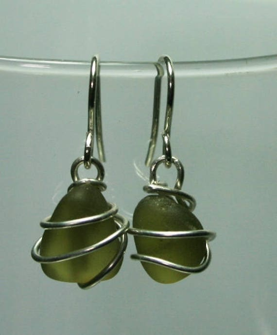 OLIVE SEAGLASS EARRINGS