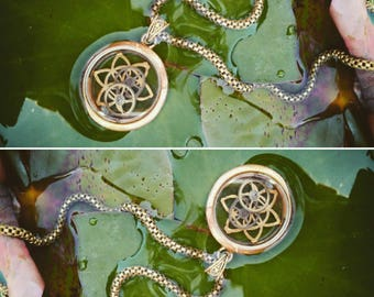 Cosmic Gears of Time. Sacred Geometry case. Seed of life pendant.
