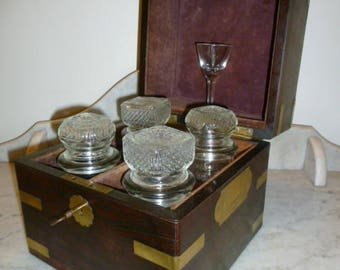 19th Century Campaign Decanter Bottles Glass Box Complete signed A&L MOSES