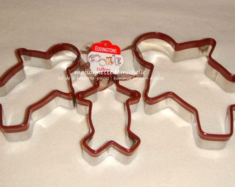 Three cookie cutters (cookies cutters) stainless steel - gingerbread men
