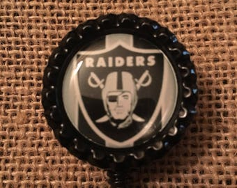 Oakland Raiders NFL Inspired Bottlecap Retractable ID Badge Holder Name Tag Reel