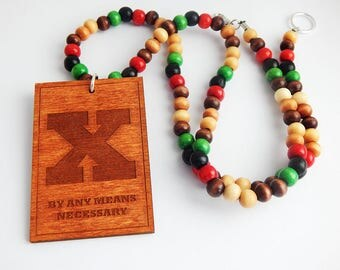 X Necklace RBG Wooden Mens Jewelry Natural Beaded Necklaces Social Justice By Any Means Necessary Men Hip Hop African fathers day