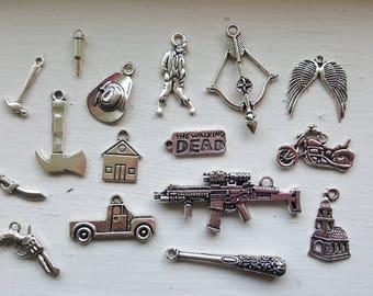 The Walking Dead Charm Set 16 Piece Tibetan Style Antique Silver