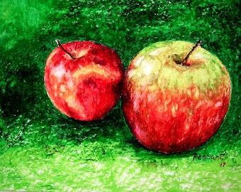 Apple Drawing, Fruit Drawing, Fruit Art, Kitchen Art, Small Drawing, Oil Pastel Drawing, Oil Pastel Art, Wall Art, Nature Art, Home Decor