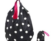 Polka dot tote with RED Lining