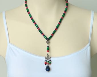 Vintage Style Malachite Coral Lapis Necklace, Colouful Gemstone Necklace, Malachite in Sterling Silver Necklace