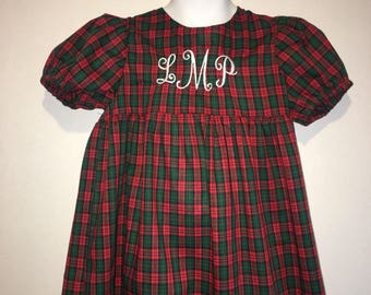 Girls Plaid Christmas Nightgown Noel Boutique Slumber Birthday Party Pajamas Nightgown! Sizes 2 ,3, 4, 5, 6, 7, 8 Red and Green Monogrammed