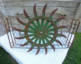 Rusty Agricultural Rotary Hoe, Cultivator, Yard Decor, Farmhouse Decor, Primitive  Garden Decor