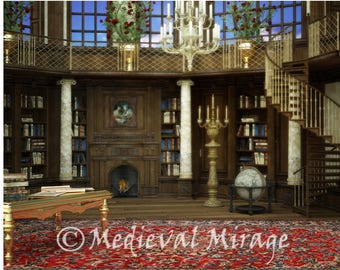 Belles Library Beauty And The Beast Fairy Tale Fantasy Inspired Digital Background