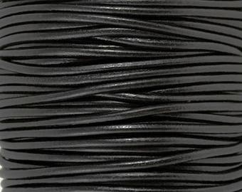 3mm Black Leather Cord, High Quality European Leather, One Yard LCR3-6000