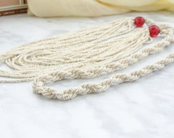 Art Deco Necklace - 1920s Seed Bead Necklace - Downton Abbey Gift For Her - Boho Gypsy Jewelry For Fall - Long Flapper Necklace
