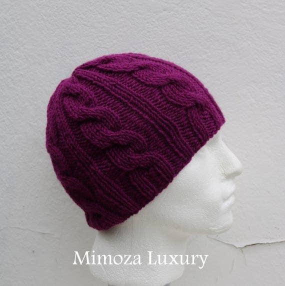 Violet Men's Beanie hat, Hand Knitted Hat in violet beanie hat cap, knitted men's, women's beanie hat, winter beanie, purple ski hat