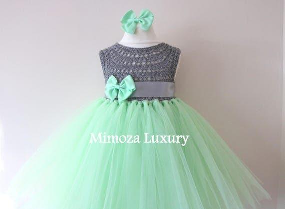 SALE size 12-18m, Ready to ship, Birthday dress tutu dress,  bridesmaid dress, green princess dress, crochet top tulle dress