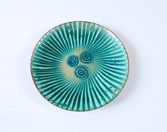 Emameled Copper Plate in the Style of Annemarie Davidson