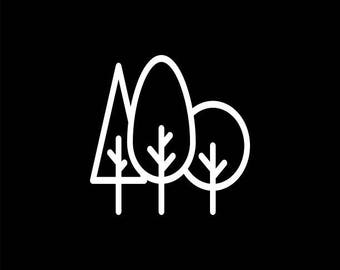 Forest Decal, 3 Trees Decal,Nature Decals,Wilderness,Adventure Car Decal,Explore,Travel,Outdoors,Forest,Camping,Camp,Hiking,Hiker,Climber