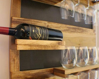 ON SALE Georgous Golden Oak Stained Wall Mounted Wine Rack with Shelves and Decorative Mesh, Wine and Liquor Shelf and Cabinet