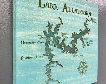 ON SALE Lake Allatoona Laser Engraved Wall Hung Map with Points of Interest Stained a Beautiful Rustic Aqua