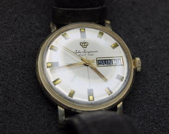 a980 Vintage Jules Jurgensen Manual 14k Yellow Gold Watch w/ Leather Band