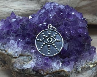 Evil Eye Charm, Evil Eye Pendant, Sterling Silver Charm