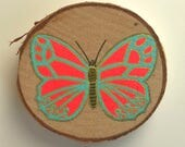 Butterfly Study #1/Small birch panel painting/Orange and turquoise butterfly