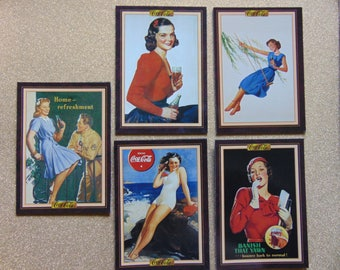 Five Coke Coca-Cola advertising women ladies girls trading card magnets