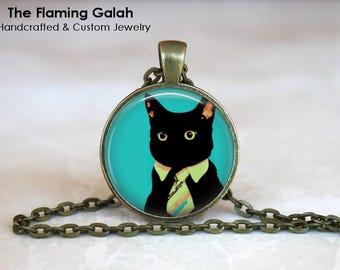BLACK CAT Pendant •  Cat Pop Art •  Unusual Black Cat •  Kitten Pop Art •  Cat Jewellery • Gift Under 20 • Made in Australia (P0806)