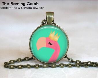 RETRO PINK FLAMINGO Pendant •  Vintage Flamingo •  Topical Bird •  Florida Flamingo • Gift Under 20 • Made in Australia (P1277)
