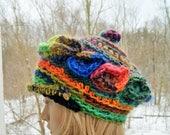 Textured hat, feminine hat,multicolour hat,Fantastic Freeform Crochet  Hat , Deep Cap, Asymmetric , Fantasy Hat,Freeform Crochet Hat