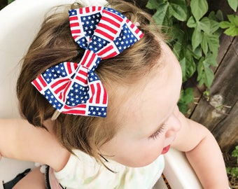 White USA American mini flag - 4th of july bow, patriotic bow, flag bow