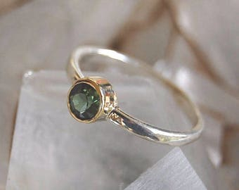 Green Tourmaline 14K Gold and Silver Ring - Tourmaline Engagement Ring - 14K Gold + silver Ring - October Birthstone - Tourmaline Ring