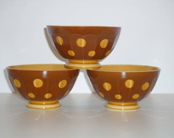 Set of 3 Vintage french Café au lait bowl with Polka Dots 1950s Sarreguemines Brown Yellow  Breakfast Rustic & country style  Rural