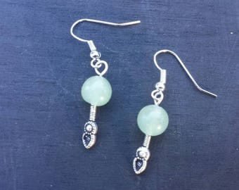 Green Apple Jade Hanging Dangle Earring with Feather Fixture Fantasy Gemstone
