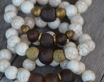 African Trade Bead Bracelets (Brown)