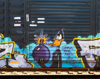 Daffy Duck: Train are, graffiti. Frame not included. Individually photographed and printed by Frank Heflin