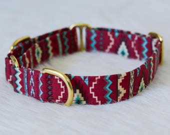 Maroon Tan Light Blue Tribal Southwestern Geometric Dog Collar - Choose your width and hardware! - By The Silver Hound