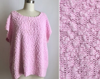 vintage oversized tee ~ textured knit ~ 90s pink slouchy sweater