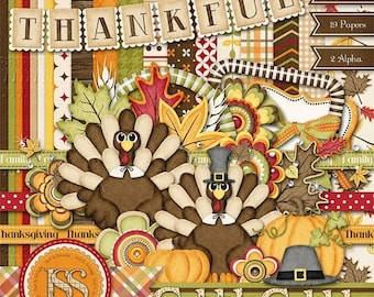 On Sale 50% Thanksgiving Digital Scrapbook Kit Gobble Gobble Add On Scrapbooking