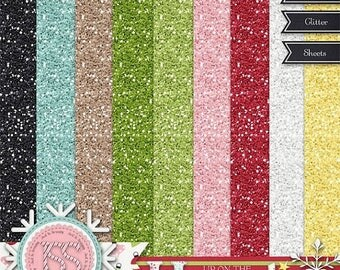 On Sale 50% Christmas,Holiday,Santa,Up On The Housetop Glitter Sheets, Digital Scrapbooking, Scrapbook, Instant Download