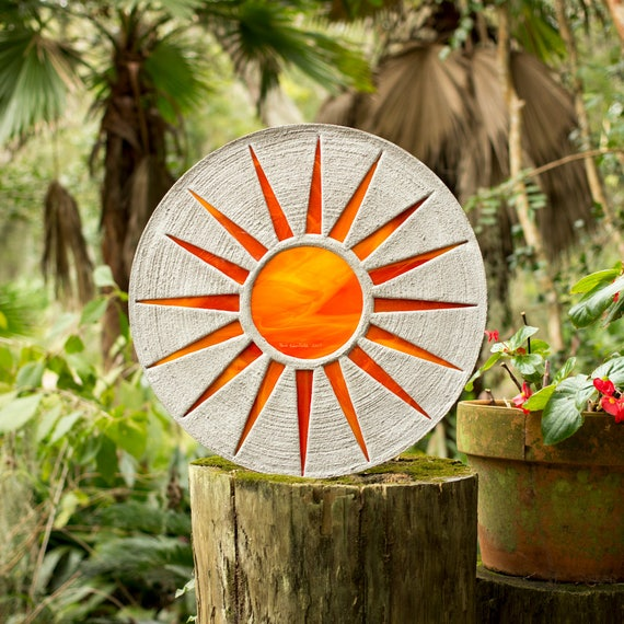"Bright Orange Sun Stepping Stone 18"" Diameter Made of Concrete and Stained Glass Perfect for Your Garden Patio or Back Yard Pool Pond #723"