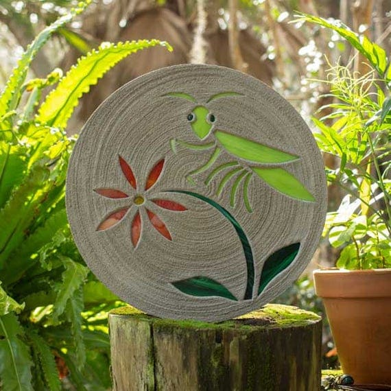 "Praying Mantis or Grasshopper Stepping Stone 18"" Diameter Concrete and Stained Glass Perfect for Your Garden Path or Patio Decoration #777"