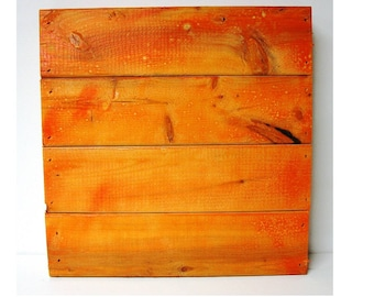 Wood Pallet Style Panel Board Blank Canvas Orange