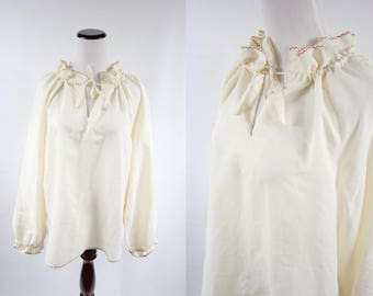 1970's Ivory Cotton Embroidered Peasant Long-sleeve Blouse
