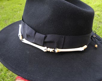 Handcrafted cowboy cowgirl rodeo hat band Bobcat bones sinew hat band only hat is not inculuded